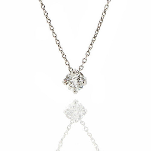 Neckwear - Diamond solitaire pendant in 18ct white gold, 0.26ct  - PA Jewellery