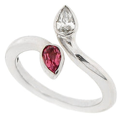 Pink tourmaline and diamond dress ring in 9ct white gold