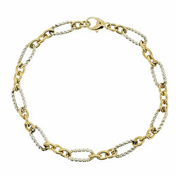 Rope effect link bracelet in 9ct yellow and white gold