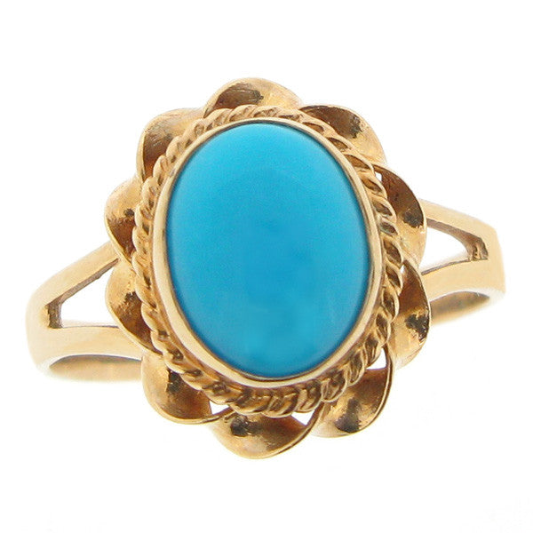 Ring - Turquoise dress ring in 9ct yellow gold  - PA Jewellery