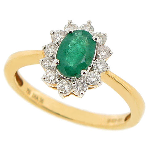 Emerald and diamond cluster ring in 18ct gold