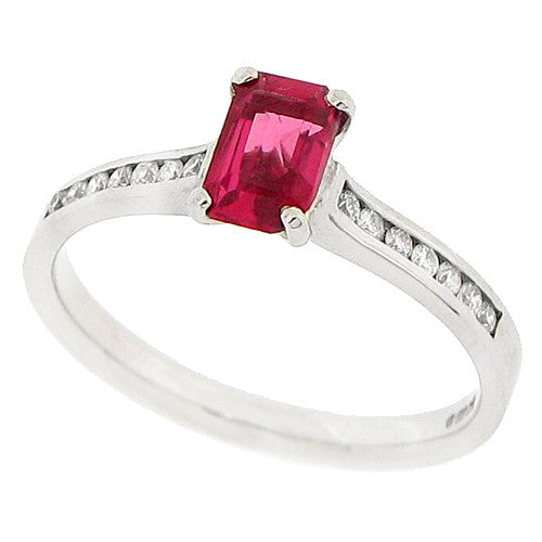 Pink spinel and diamond ring in 18ct white gold