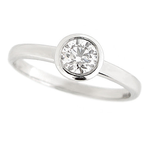 Ring - Rubover set diamond solitaire ring in 18ct white gold, 0.46ct  - PA Jewellery