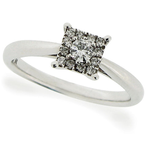 Ring - Diamond square cluster ring in 9ct white gold, 0.19ct  - PA Jewellery