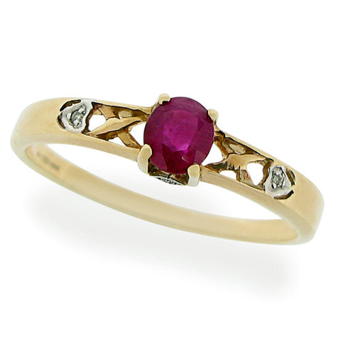 Ring - Ruby & Diamond shoulder detail ring in 9ct yellow gold  - PA Jewellery
