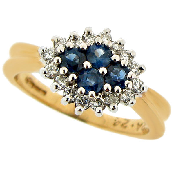 Ring - Sapphire and diamond cluster ring in 9ct yellow gold  - PA Jewellery