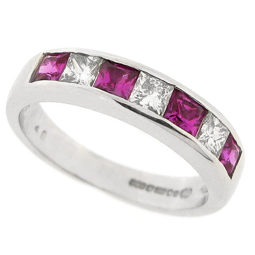 Pink sapphire and diamond half eternity band in 18ct white gold