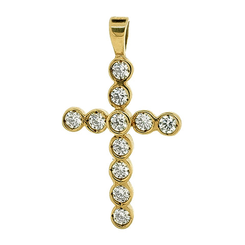 Cubic zirconia set cross pendant in 9ct gold
