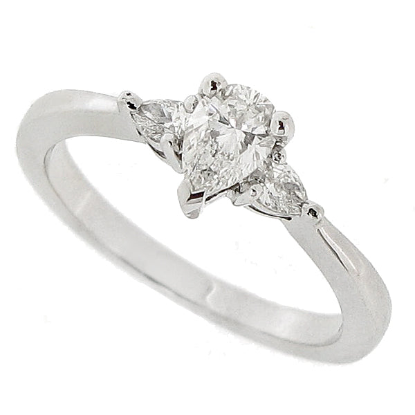 Pear shape diamond three stone ring in 18ct white gold,  0.58ct