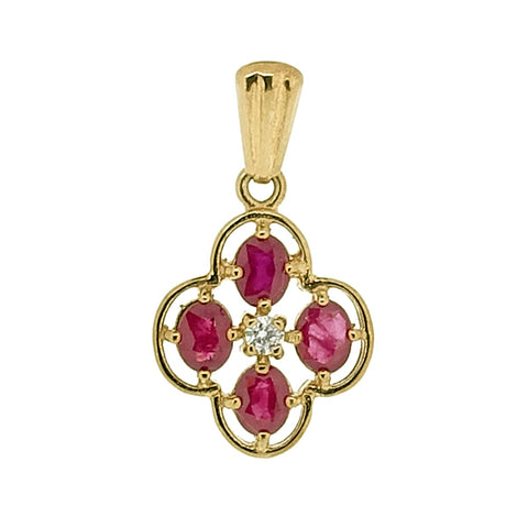 Ruby and diamond cluster pendant in 9ct yellow gold