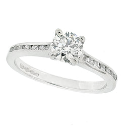 Diamond solitaire ring with diamond set shoulders in platinum, 0.80ct