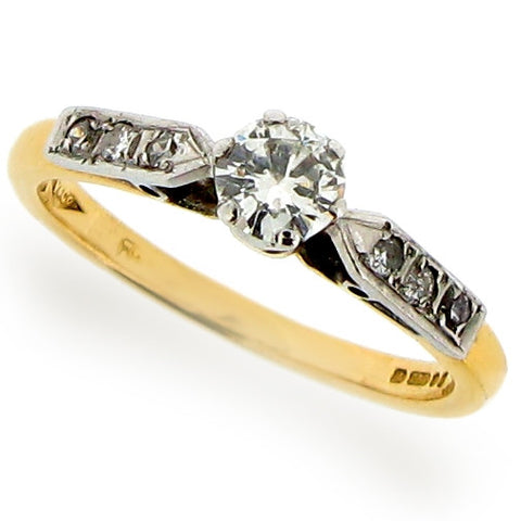 Ring - Diamond solitaire ring with shoulder detail in 18ct gold, 0.30ct  - PA Jewellery