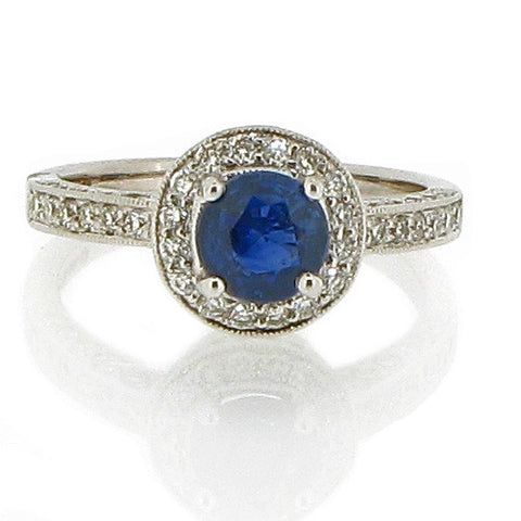 Ring - Sapphire & Diamond round cluster ring in 18ct white gold  - PA Jewellery
