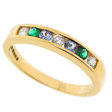Diamond, Emerald and Tanzanite half eternity band in 18ct gold