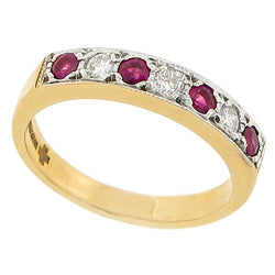 Ruby and diamond half eternity band in 9ct gold