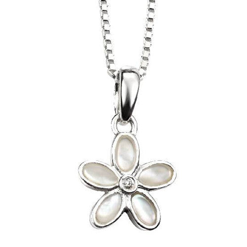 Neckwear - Mother of pearl flower pendant and chain in silver  - PA Jewellery