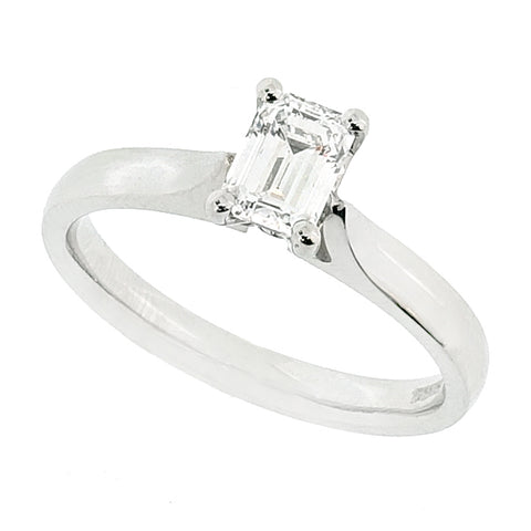 Emerald cut diamond solitaire ring in platinum, 0.55ct