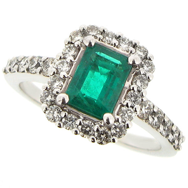 Ring - Emerald and diamond cluster ring in 18ct white gold  - PA Jewellery