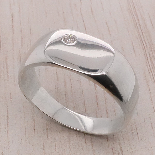 Diamond set signet ring in silver