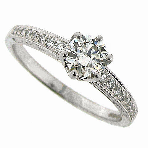 Ring - Diamond solitaire ring with diamond set shoulders in platinum, 0.60ct.  - PA Jewellery