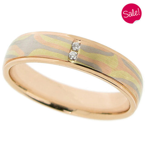 Mokume diamond set band in 18ct yellow, white and rose gold