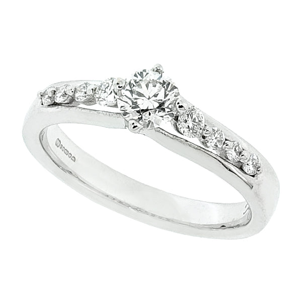 Brilliant cut diamond ring with diamond set shoulders in 18ct white gold, 0.50ct