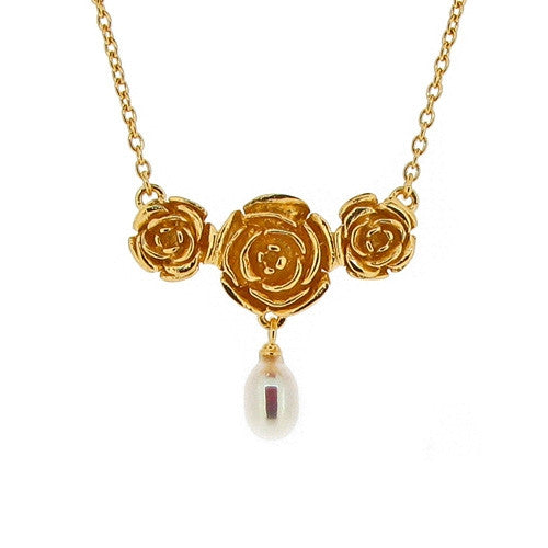 Neckwear - Vintage Rose necklace with freshwater pearl in silver with 18ct vermeil  - PA Jewellery