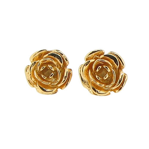 Earrings - Vintage Rose stud earrings in silver with 18ct vermeil  - PA Jewellery