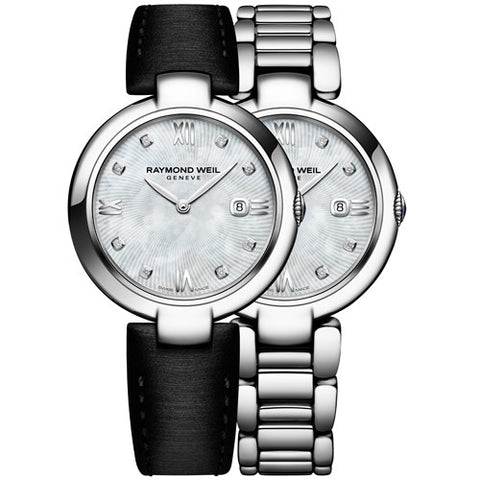 Watch - Ladies' Raymond Weil Shine in stainless steel on leather 1600-ST-00995  - PA Jewellery