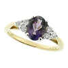 Amethyst and diamond cluster ring in 9ct yellow gold