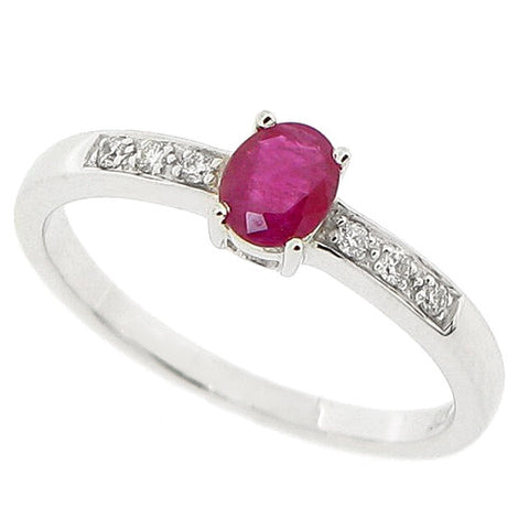 Ruby and diamond ring in 9ct white gold