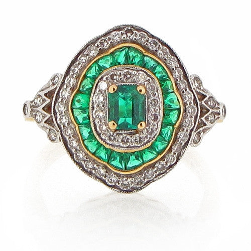 Ring - Edwardian style Emerald & Diamond cluster ring in 18ct gold.  - PA Jewellery
