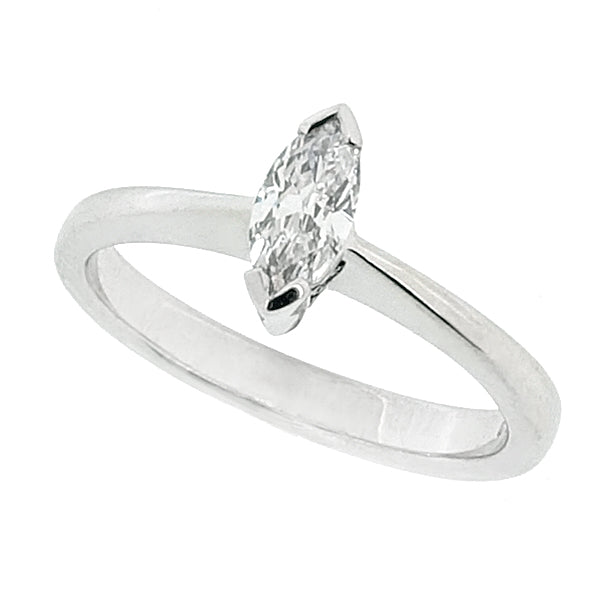 Marquise cut diamond solitaire ring in 18ct white gold, 0.22ct