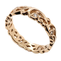 Diamond set scroll detail ring in 9ct gold