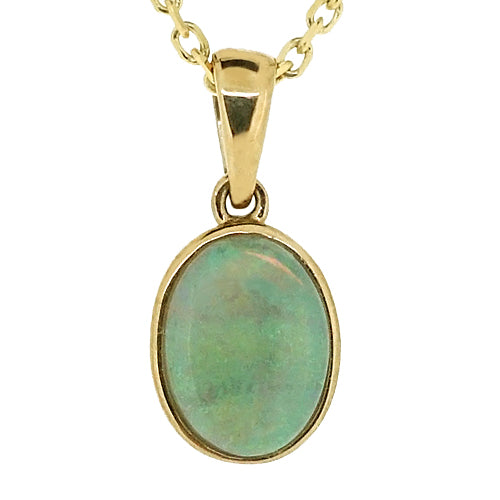 Oval opal pendant and chain in 9ct gold