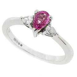 Pink sapphire and diamond three stone ring in 18ct white gold