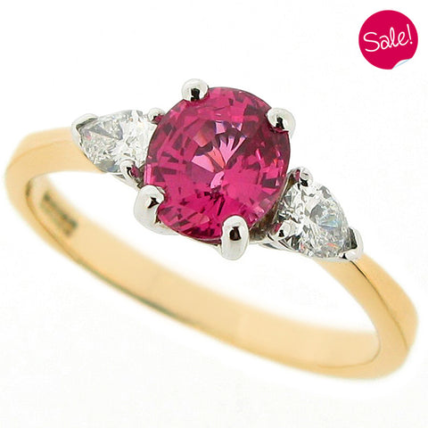 Pink Spinel & Diamond three stone ring in 18ct yellow gold