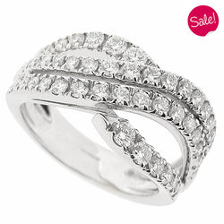'Emozioni' multi-row diamond crossover ring in 18ct white gold, 1.18ct