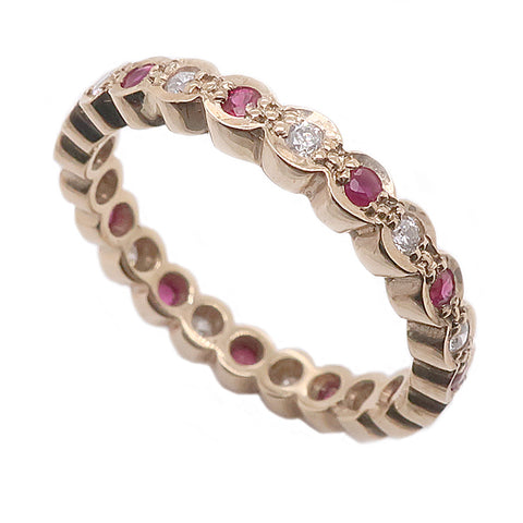 Ruby and diamond full eternity ring in 9ct gold