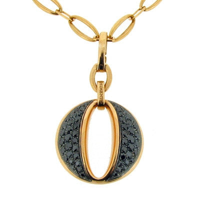 Neckwear - Luna black diamond pendant and chain in 18ct rose gold  - PA Jewellery