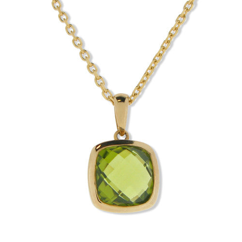 Neckwear - Peridot pendant and chain in 9ct yellow gold  - PA Jewellery