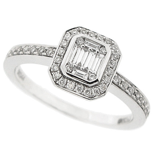 Baguette and brilliant cut diamond cluster ring in 18ct white gold, 0.34ct