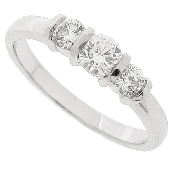 Brilliant cut diamond three stone ring in platinum, 0.53ct