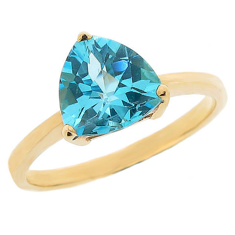 Ring - Blue topaz solitaire ring in 9ct yellow gold  - PA Jewellery