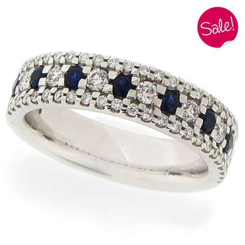 Ring - Sapphire and diamond three row half eternity ring in 18ct white gold.  - PA Jewellery