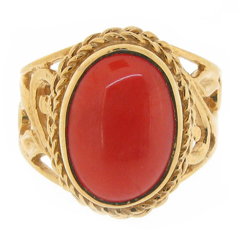 Ring - Coral ring in 9ct yellow gold  - PA Jewellery