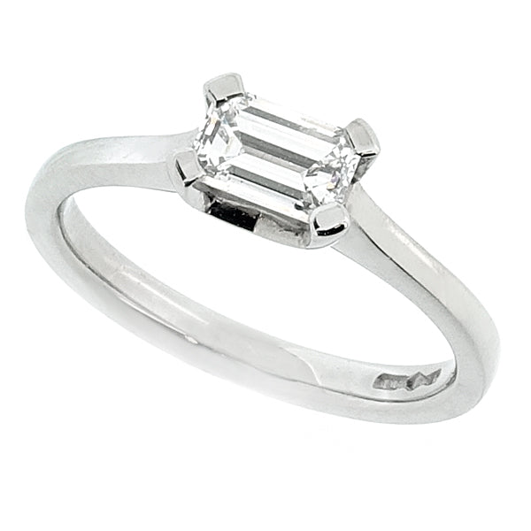 Emerald cut diamond solitaire ring in platinum, 0.51ct
