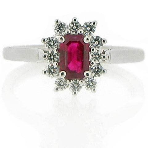 Ring - Ruby & Diamond cluster ring in 18ct white gold.  - PA Jewellery
