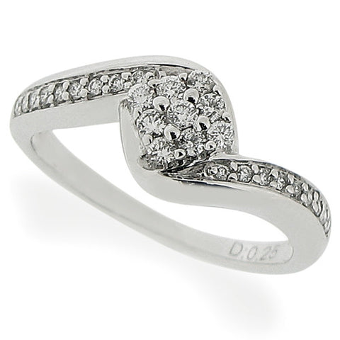 Ring - Diamond twist cluster ring in 18ct white gold, 0.25ct  - PA Jewellery