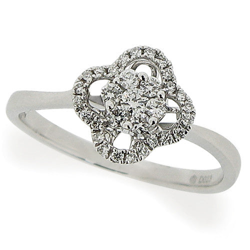 Ring - Diamond floral cluster ring in 18ct white gold, 0.22ct  - PA Jewellery